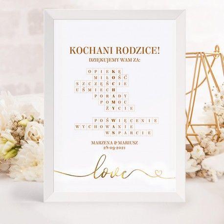 Prezent Dla Rodzicow Krzyzowka Kochamy Was Only Love Place Card Holders Place Cards Cards