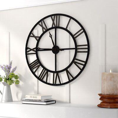 Gracie Oaks Oversized Divya 33 75 Wall Clock In 2020 Big Wall Clocks Farmhouse Wall Clocks Best Wall Clocks