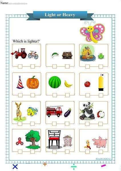 Pin On Worksheets Kindergarten worksheets heavy and light