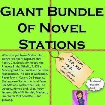 Growing Bundle Of Novel Study Stations Poetry Mythology Epic