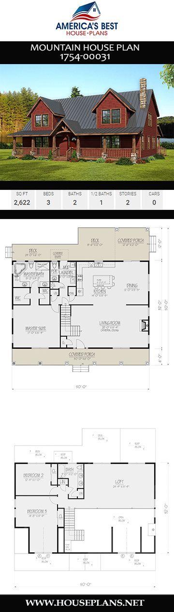 House Plan 1754 00031 Mountain Plan 2 622 Square Feet 3 Bedrooms 2 5 Bathrooms Mountain House Plans Country House Design Beach House Design