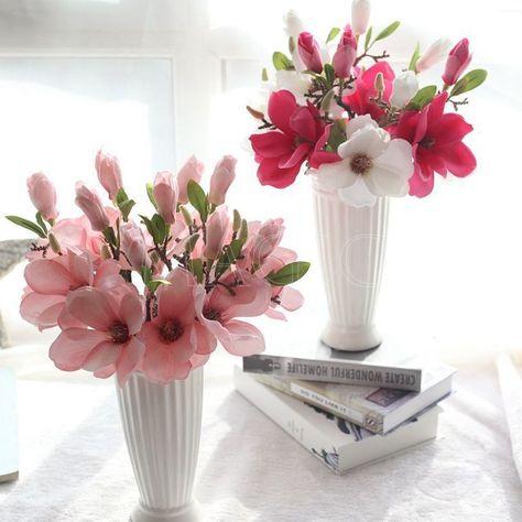 1pcs artificial magnolia bouquet fake silk flowers home wedding 1pcs artificial magnolia bouquet fake silk flowers home wedding floral decor 15 mightylinksfo