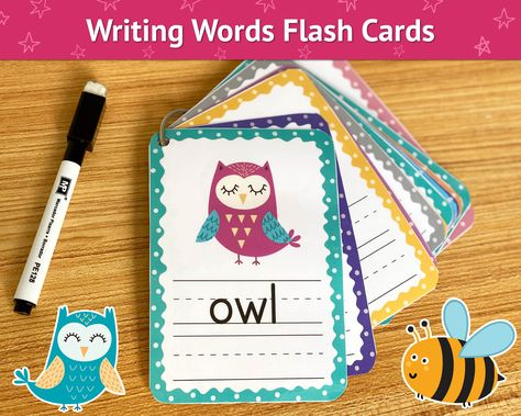 Writing Simple Words Flash Cards, Copy the Words, Dry Erase Flashcards, Writing Practice, Sight Words, Tracing Worksheets for Kids