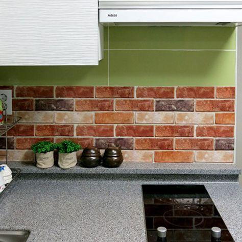 DIY Brick Effect Tile Stickers Home Decor Kitchen Bathroom Wall Wallpaper Decal