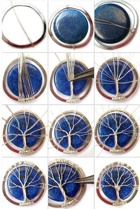 Tutorial DIY Wire Jewelry Image Description Lapis Lazuli Tree of Life diy wire wrapoed stone pendant ~Wire Jewelry Tutorials Wire wrapping is additionally a popular craft since it can be quite relaxing and soothing. Wire wrapping is truly easy, and the ma Bijoux Wire Wrap, Wire Wrapped Jewelry, Wire Jewelry, Beaded Jewelry, Handmade Jewelry, Wire Wrapped Stones, Pendant Jewelry, Glass Jewelry, Pendant Necklace