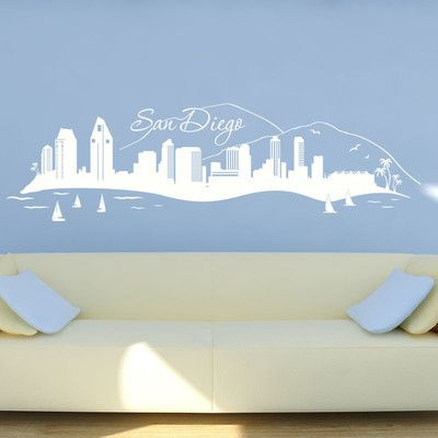 Style and Apply San Diego Skyline Wall Decal Color: Golden Yellow