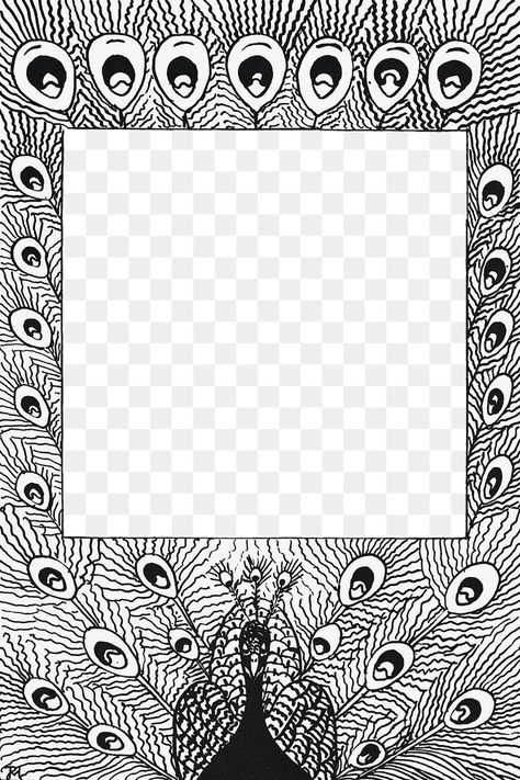 Download Premium Png Of Vintage Black And White Peacock Feather Png Frame Vintage Illustration Web Design Resources White Peacock
