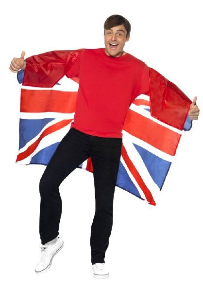 Mens England Flag Jacket /& Tie St George/'s Day Rugby Sports Fancy Dress Outfit