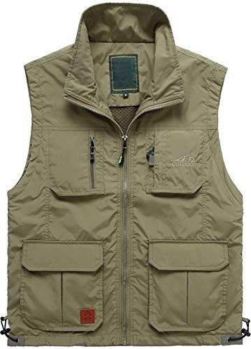 Men/'s Cargo Sleeveless Mesh vest Thin Multi-pocket Outdoor Fishing Coat Jacket