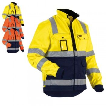 Blaklader Workwear High Vis Winter Jacket Orange//Navy Blue