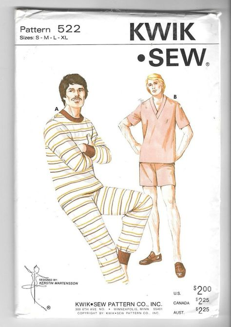 Kwik Sew 522 Men\'s Pajamas/ Long Johns Vintage 1970\'s | vintage patterns
