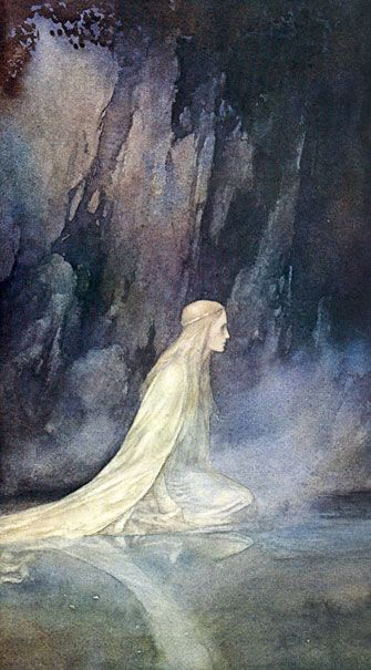"Alan Lee, ""The Lady of the Lake"" illustration for the book ""Faeries"" (with Brian Froud). Reminds me of John Bauer. Alan Lee, John Bauer, Tolkien, Mists Of Avalon, Roi Arthur, Brian Froud, Mystique, Fairytale Art, Norman Rockwell"
