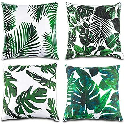 Amazon Com Lauren 4 Pcs Tropical Leaves Throw Pillow Cover Green Palm Leaves Cushion Cover Square Pillow Case Ideas In 2020 Throw Pillows Throw Pillow Covers Pillows