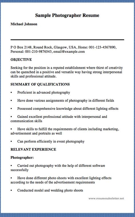 Sample Photographer Resume Michael Johnson P O Box 2148, Round - resume for photographer