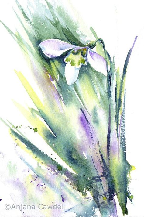 Original Watercolour Painting Of A Single Snowdrop Painted In A