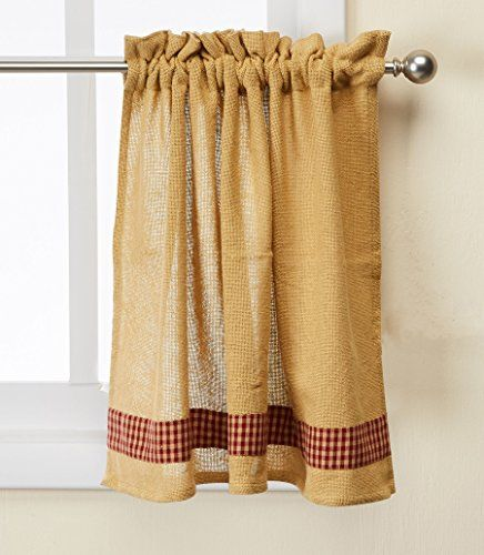 Park Designs Burlap And Check Unlined Curtain Tiers 24 Or 36 Length Park Designs Parking Design Design