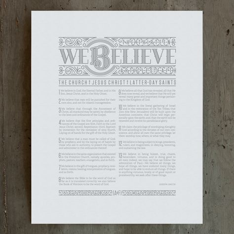 Letterpress of the Articles of Faith. I see a Mother's Day present in my future