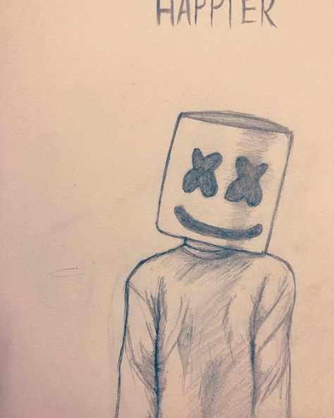 I want you to be happier Marshmello #marshmello #sketchbook #sketching #edm #hap... #artsketchbook #edm #hap #happier #Marshmello #Sketchbook #sketching
