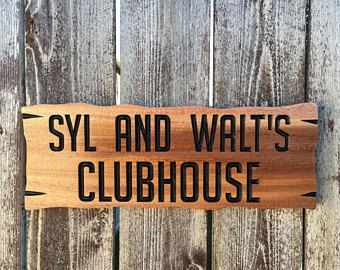 Treehouse Clubhouse Sign Solid Wood Custom Colors Kid Play House Sign Tree House Child Sign Play Outside Custom Wood Signs Custom Carved Signs Custom Treehouse