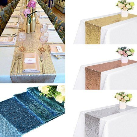 Sequin Table Runner Cloth Rose Gold Silver Wedding Birthday Party Decor 12x72/'/'