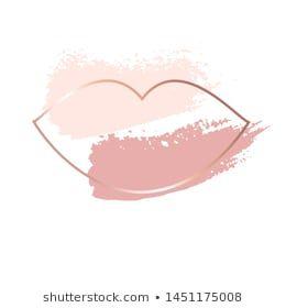 Vetor stock de Nude Brush Strokes Gold Frame Lip (livre de direitos) 1451175008