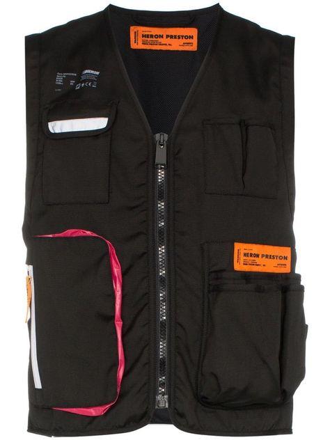 Heron Preston logo patch tool vest - Black