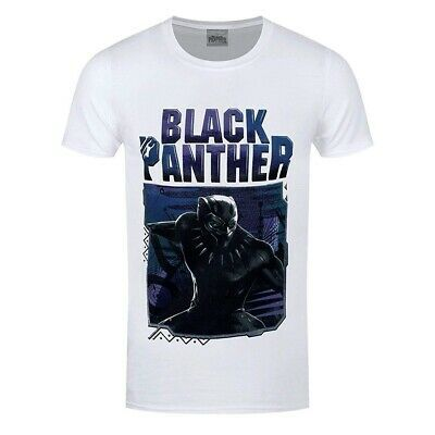 Black Panther Neon Face Wakanda Official Marvel Movie Mens T-shirt