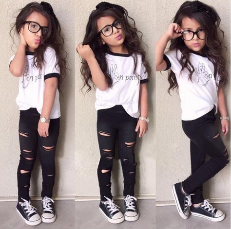 Fashion Kids Baby Girl Clothing Set Short Sleeve Letter Print Top + Ripped Leggings Long Pants Kid Clothes Suit Sets Outfits Brand New Material:cotton blend Suit for Color:white shirt + black pant Package: kid girl clothing set ( t shirt + pant)