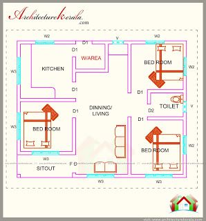 760 Square Feet 3 Bedroom House Plan Architecture Kerala Bedroom House Plans Small House Design Plans Rustic House Plans