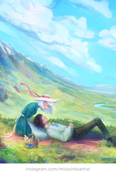 Howl and Sophie from Howl's Moving Castle - Studio Ghibli Art