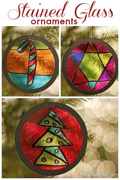 Homemade Ornaments are a fun Christmas craft ~ Recycled Stained Glass Ornaments