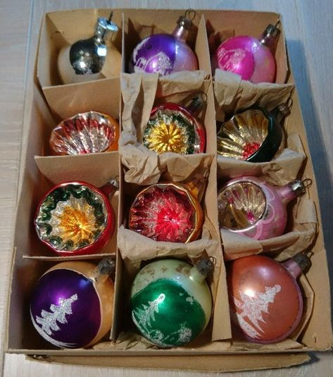 12 Shiny Brite mercury glass feather tree miniature ornaments bell grape atomic ufo stenciled strip