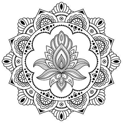Dehna Tatowierung Blume Vorlage Mehndi Lizenzfreies 2