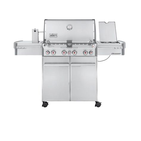 Weber Summit S 470 4 Burner Propane Gas Grill In Stainless Steel With Built In Thermometer And Rotisserie 7170001 Propane Gas Grill Weber Gas Bbq Best Gas Grills