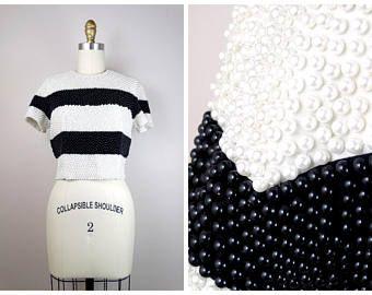 Heavy Pearl Beaded Crop Top Heavily Embellished Top W Ivory Cream Pearls Beaded Crop Top Embellished Top Crop Tops