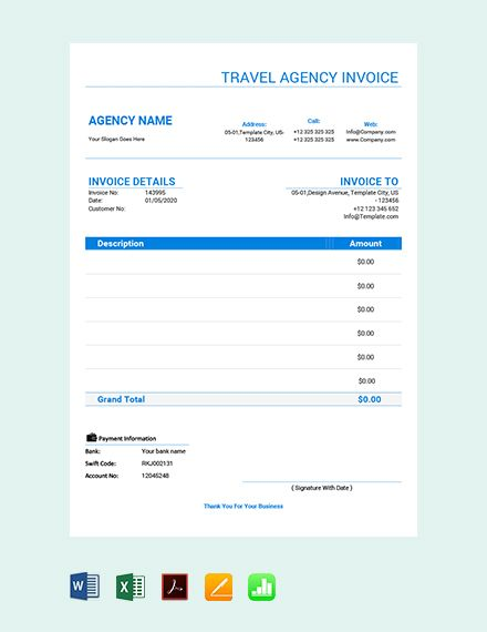 Free Travel Agency Invoice Template Pdf Word Doc Excel Apple Mac Pages Google Docs Google Sheets Apple Mac Numbers Travel Agency Invoice Template Free Travel