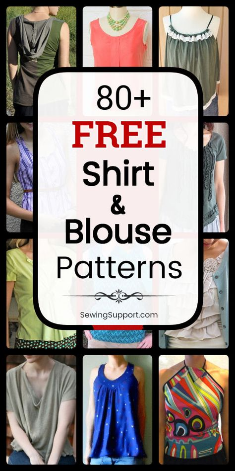 Free Shirt & Blouse Patterns to sew: Over 80 diy sewing projects and tutorials f. Free Shirt & Blouse Patterns to sew: Over 80 diy sewing projects and tutorials for women's tops, shirts, and blouses. Cute summer sleeveless styles, s. Diy Sewing Projects, Sewing Projects For Beginners, Sewing Hacks, Sewing Tutorials, Sewing Tips, Sewing Ideas, Blouse Pattern Free, Blouse Patterns, Blouse Sewing Pattern