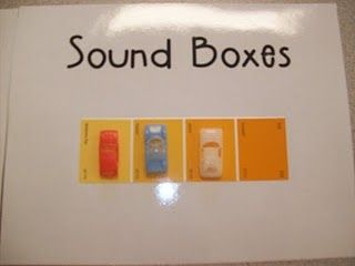 """paint chips for phonemic awareness. kids """"park cars"""" on each square for each sound they hear."""