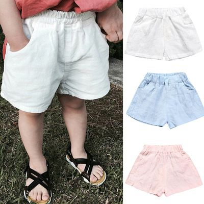 Kid Toddler Boy Girl Cotton Linen Pants Solid Loose Harem Casual Loose Trousers