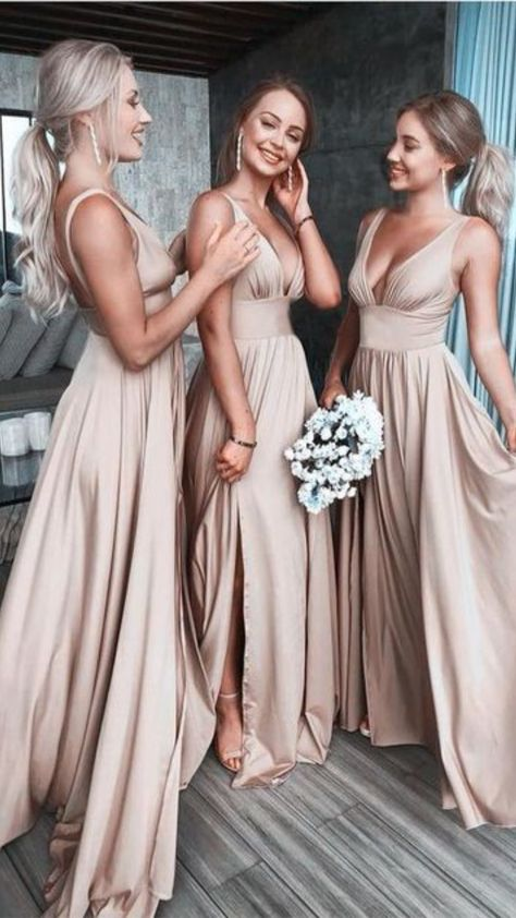 Champagne Bridesmaid Dresses, Modest Bridesmaid Dresses, Wedding Bridesmaids, Slit Dress, Wedding Party Dresses, Formal Dress, Sunflower Weddings, Pink Weddings, Cheap Dress