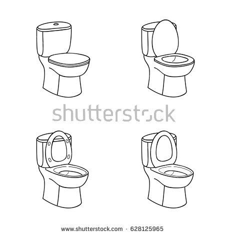 Toilet Sketch Sign Toilet Bowl With Seat Doodle Line Icon Set Cute Small Drawings Art Icon Drawings