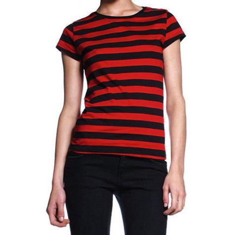 03de2ac773c Women s Striped T Shirt Black Red Stripes Ladies Gothic Punk Rock Stripe Tee  Top  Stripe  striped  stripes
