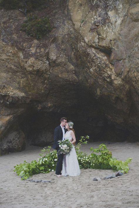 simple ceremony site Oregon beach wedding ceremony