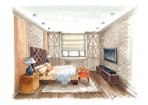 61 Ideas Living Room Interior Perspective Drawing For 2019 Interior Design Renderings Drawing Interior Interior Architecture Living room drawing with tv