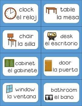 Classroom Labels English To Spanish Spanish Lessons For Kids Learning Spanish For Kids Classroom Labels