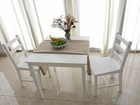 Details About Small White Wooden Dining Table And 2 Chairs Set