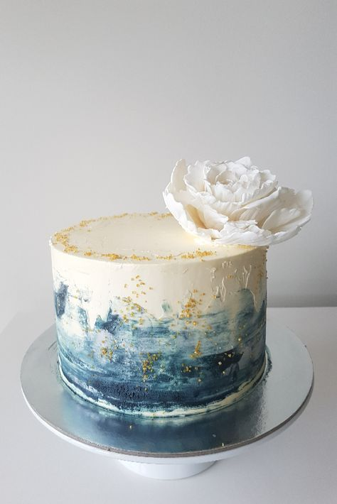 Pretty Shades Of Teal For This Watercolor Cake With Chocolate