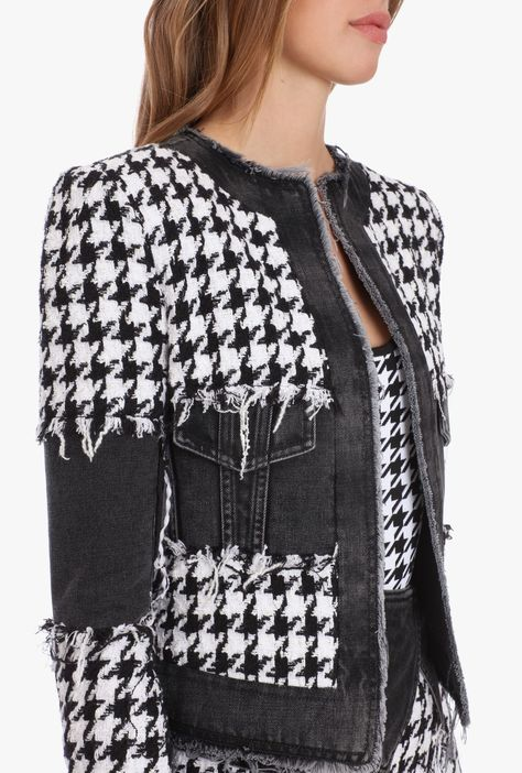 Black And White Houndstooth Tweed And Denim Suit Jacket for Women - Balmain.com Classy Outfits, Chic Outfits, Fashion Outfits, Denim Suit, Suit Jackets For Women, Printed Denim, Tweed Blazer, Denim Fashion, Houndstooth