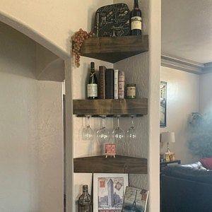 Rustic Wood Wine Rack Wine Rack Corner Wine Rack Floating Etsy In 2020 Corner Wine Rack Wood Wine Racks Wine Rack Wall