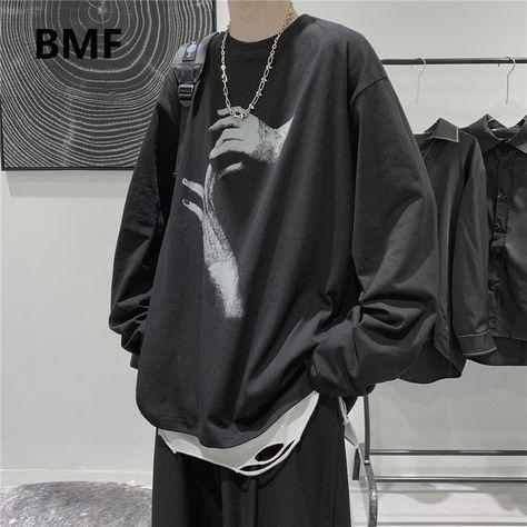 14.68US $ 50% OFF|2020 Fall Long Sleeve T Shirt Fashion Loose Ulzzang Print Tops Hip Hop Oversized T Shirts Men Clothing Korean Style Clothes|T-Shirts|   - AliExpress